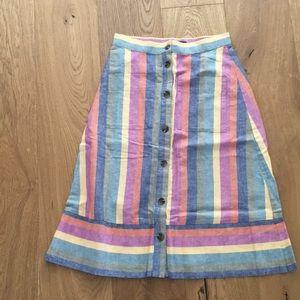 Madewell Rainbow Stripe Skirt
